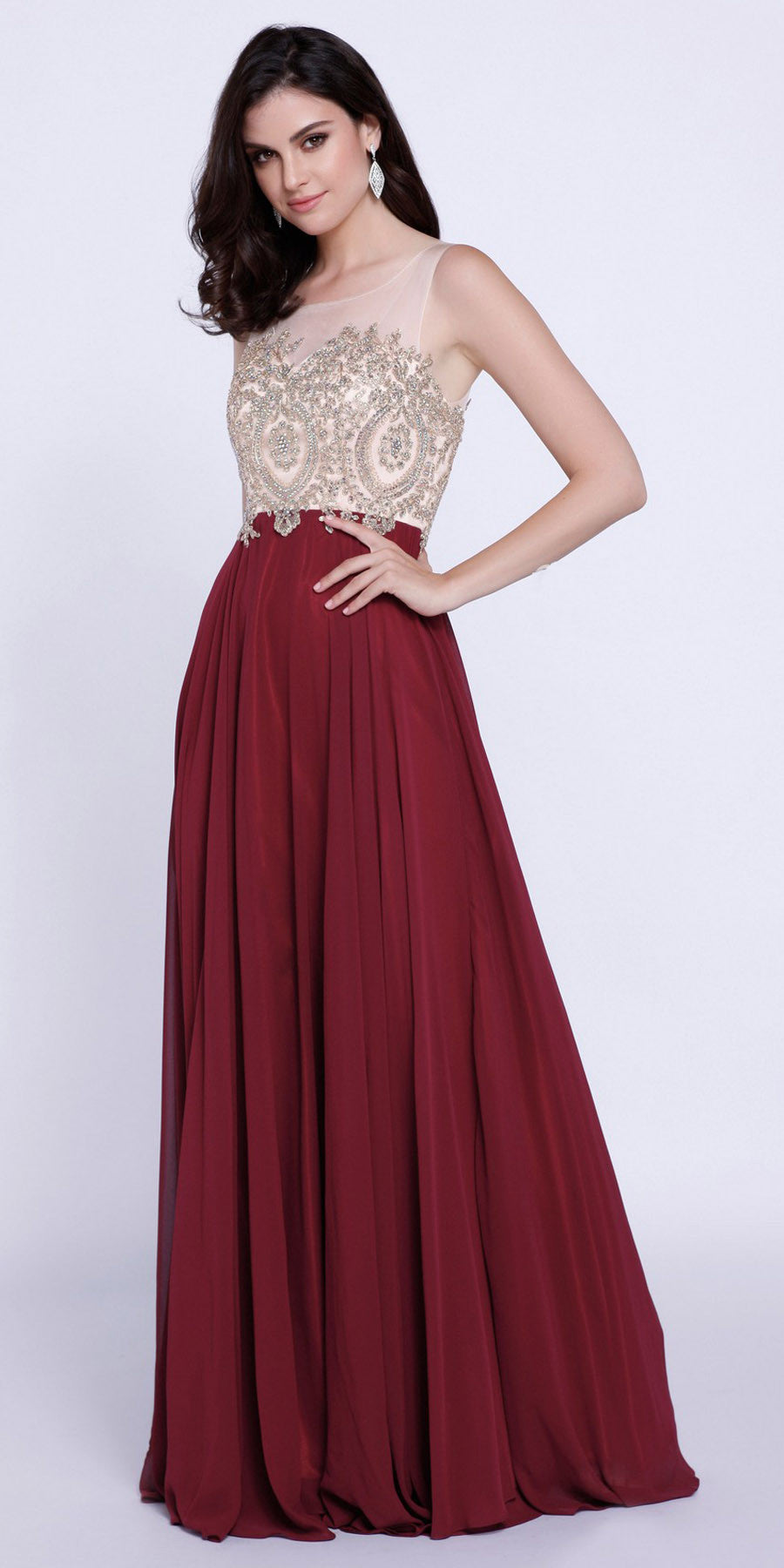 Burgundy Appliqued Bodice A-Line Chiffon Formal Dress Sleeveless