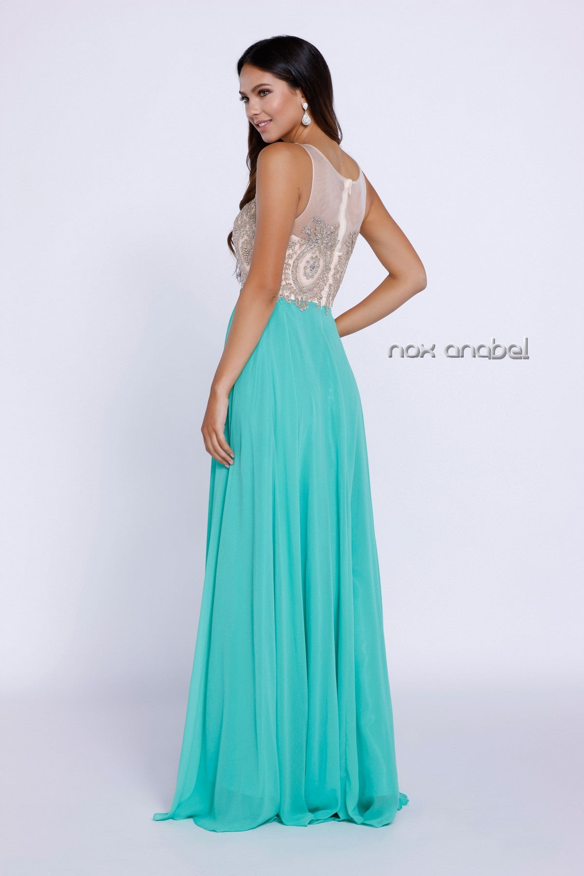 Green Appliqued Bodice A-Line Chiffon Formal Dress Sleeveless Back View