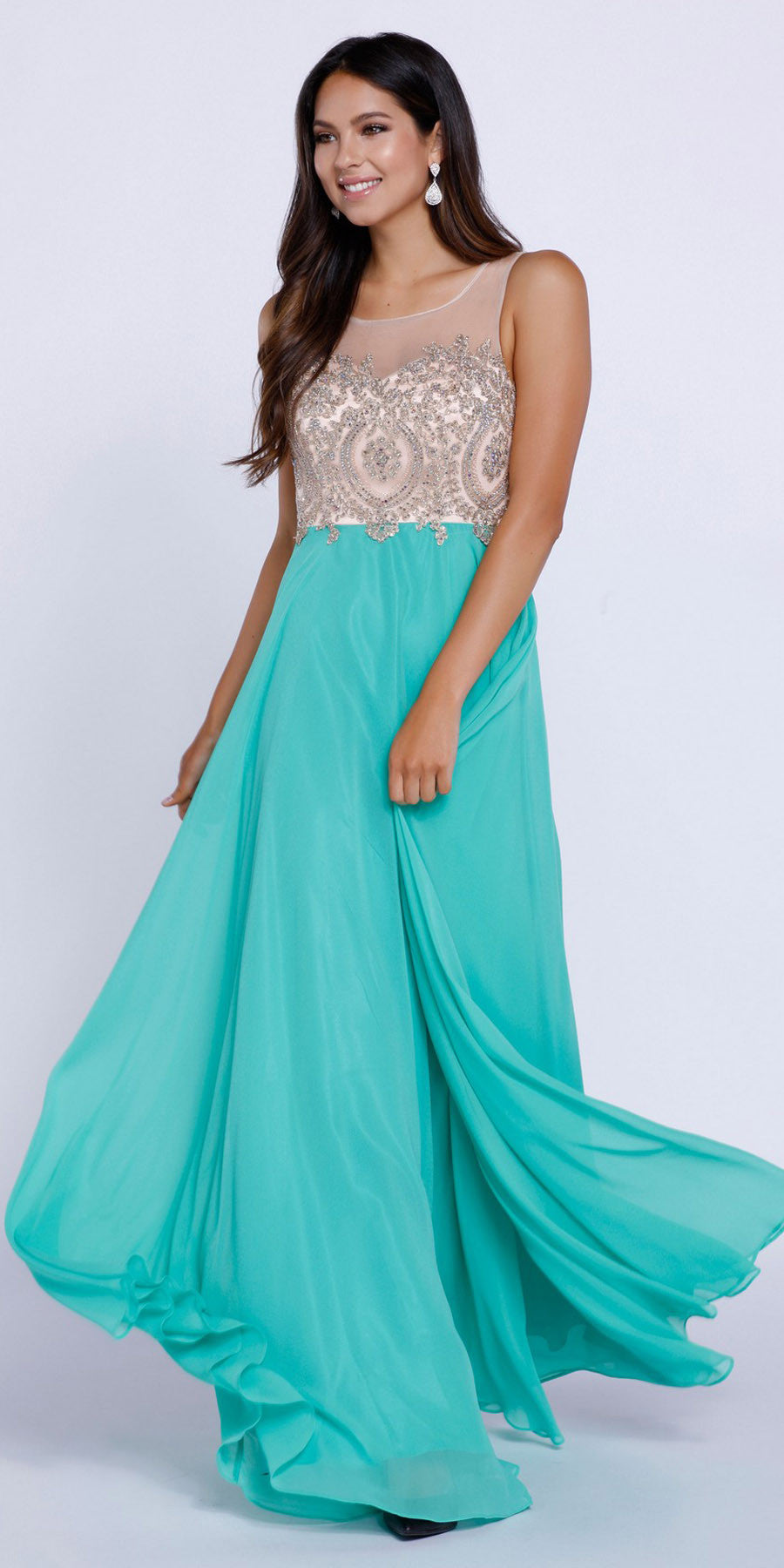 Green Appliqued Bodice A-Line Chiffon Formal Dress Sleeveless