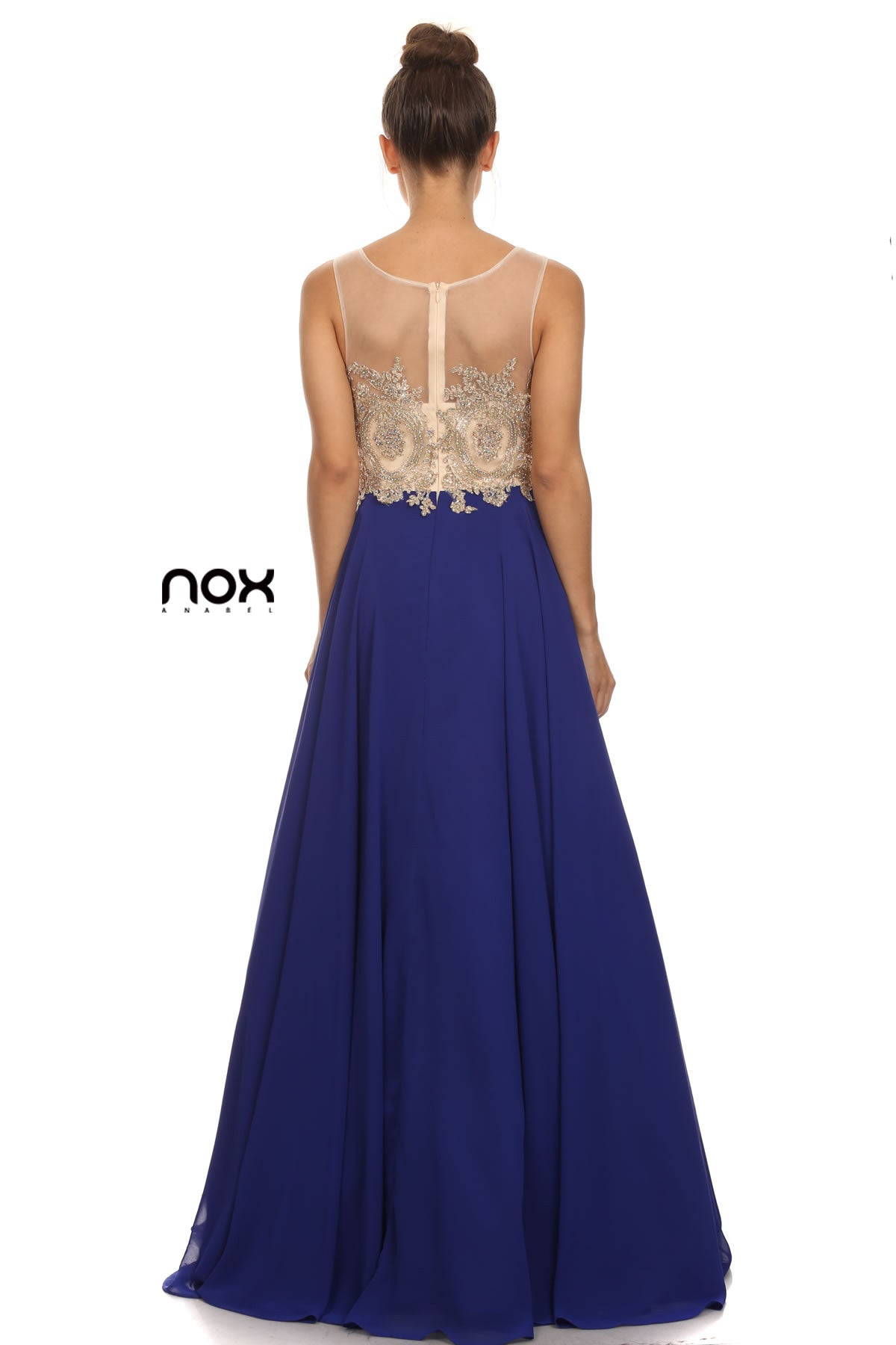 Navy Blue Appliqued Bodice A-Line Chiffon Formal Dress Sleeveless Back View