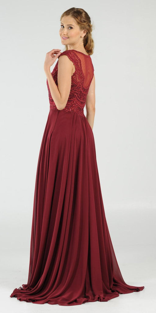 Burgundy Cap Sleeves Embroidered Long Formal Dress with Slit