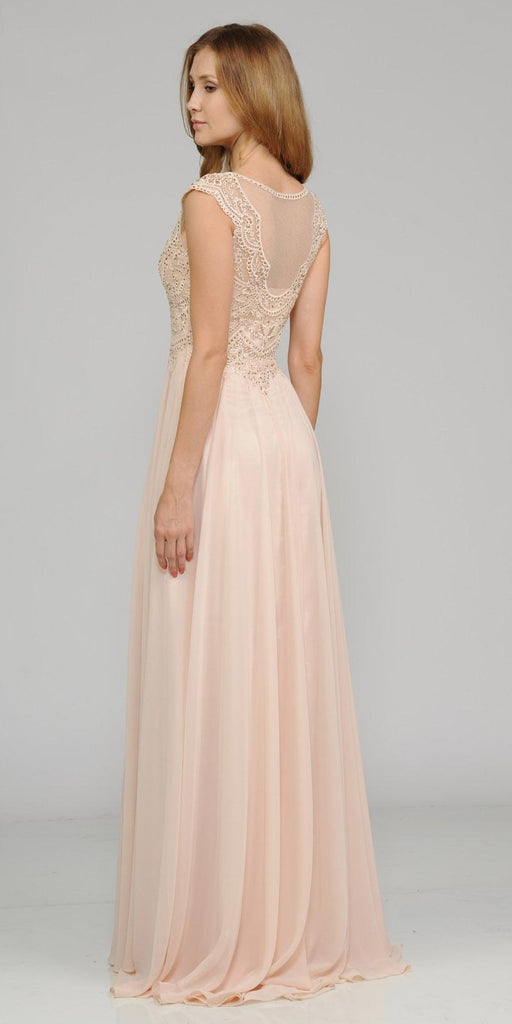 Champagne Cap Sleeves Embroidered Long Formal Dress with Slit