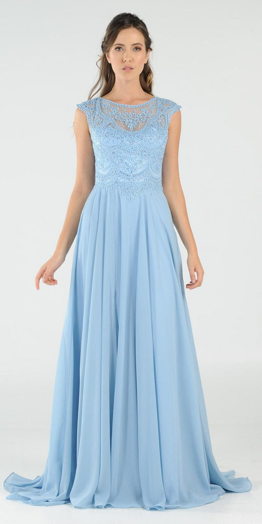 Ice Blue Cap Sleeves Embroidered Long Formal Dress with Slit