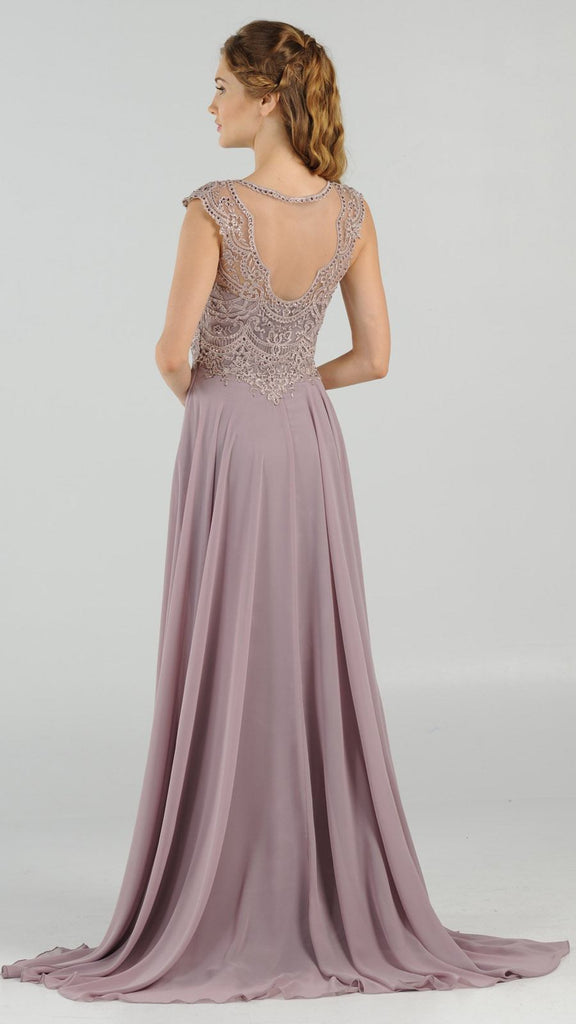 Mauve Cap Sleeves Embroidered Long Formal Dress with Slit