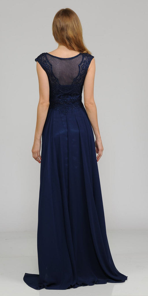 Navy Blue Cap Sleeves Embroidered Long Formal Dress with Slit