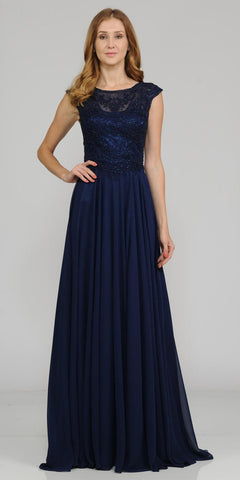 Poly USA 8254 Navy Blue Cap Sleeves Embroidered Long Formal Dress with Slit