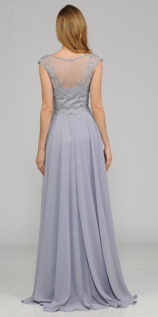 Silver Cap Sleeves Embroidered Long Formal Dress with Slit