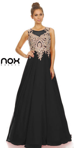 Black Scoop Neckline Appliqued Bodice A-line Formal Dress Long