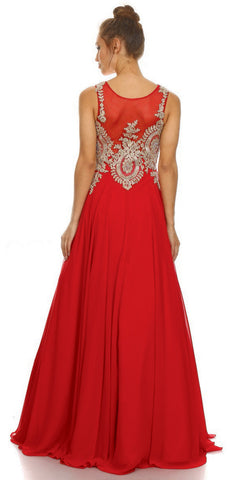 Red Scoop Neckline Appliqued Bodice A-line Formal Dress Long