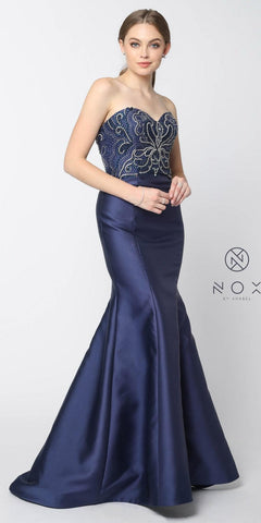Sweetheart Neck Beaded Bodice Navy Blue Mermaid Prom Dress Long