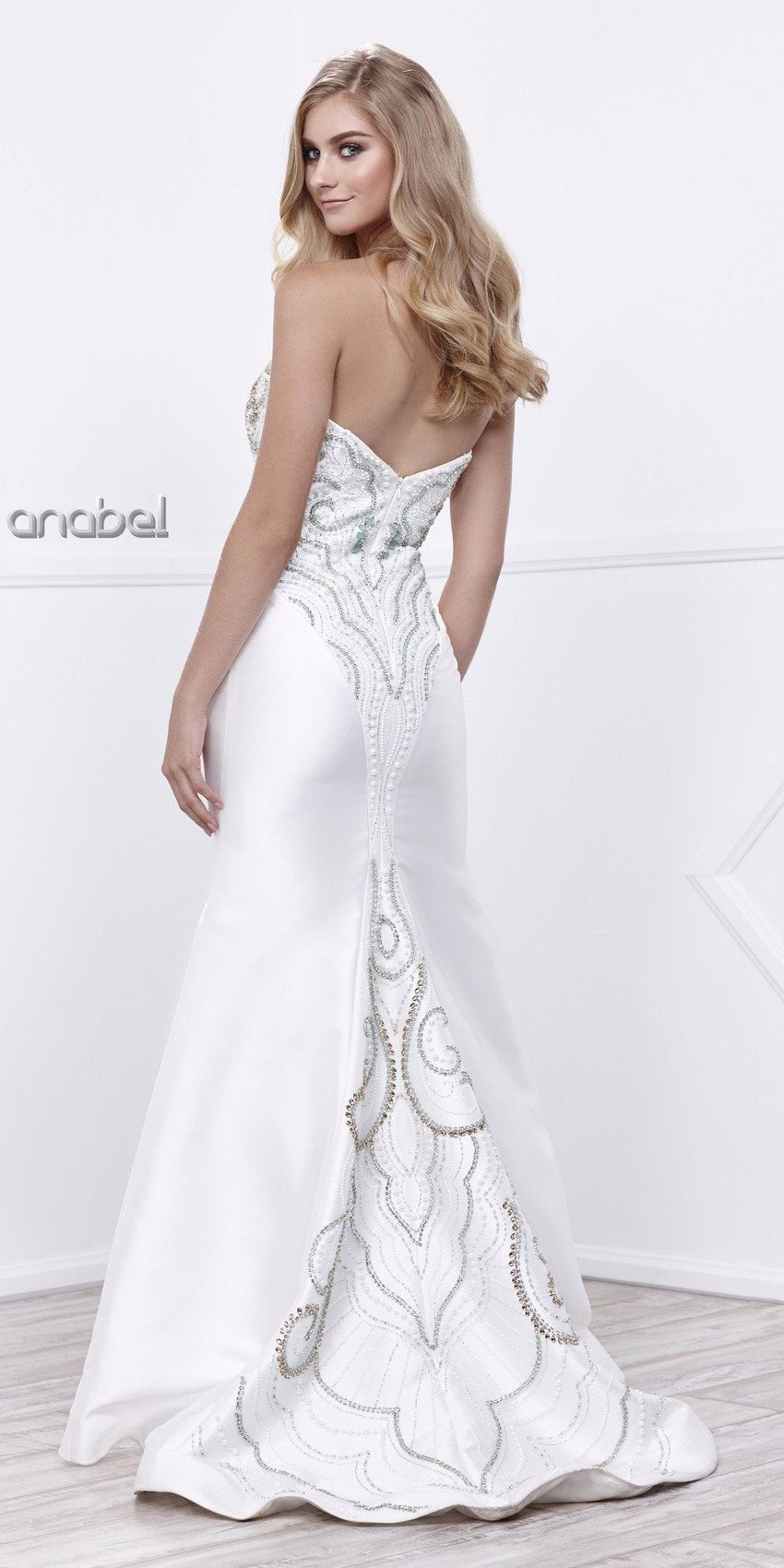 Sweetheart Neck Beaded Bodice Ivory Mermaid Prom Dress Long