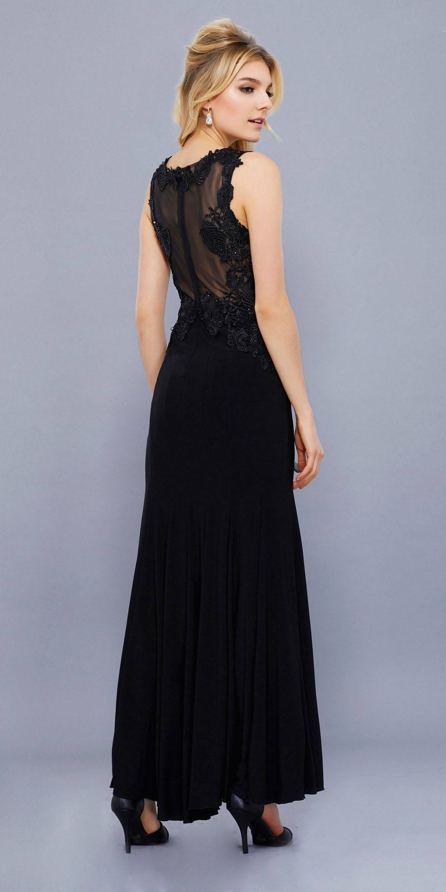 Black Jersey V-Neck Fit and Flare Formal Gown with Lace Accent