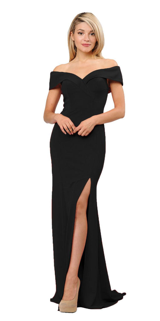 Black Off-Shoulder Long Formal Dress with Slit
