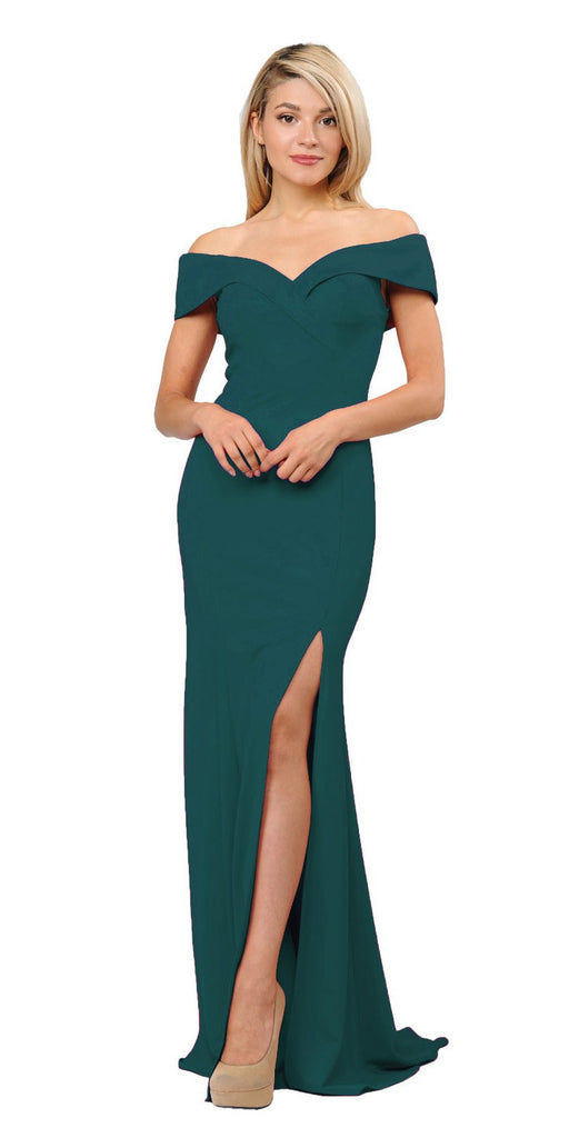 Green Off-Shoulder Long Formal Dress with Slit