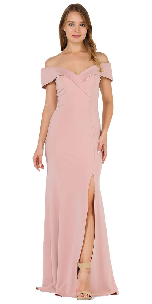 Poly USA 8258 Rose Gold Off-Shoulder Long Formal Dress with Slit