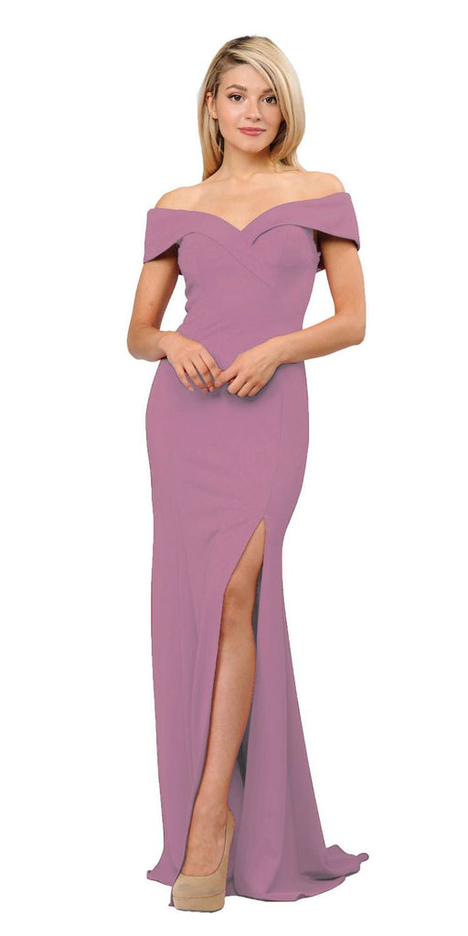 Violet Off-Shoulder Long Formal Dress with Slit