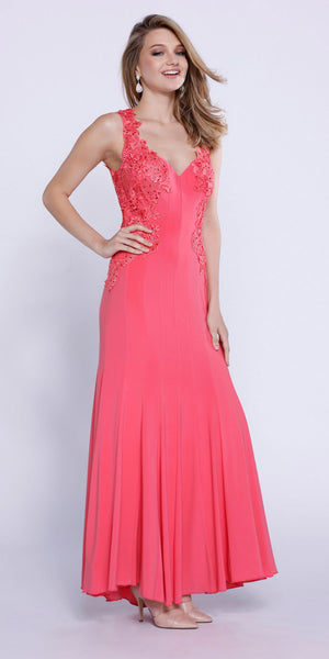 Coral Jersey V-Neck Fit and Flare Formal Gown with Lace Accent