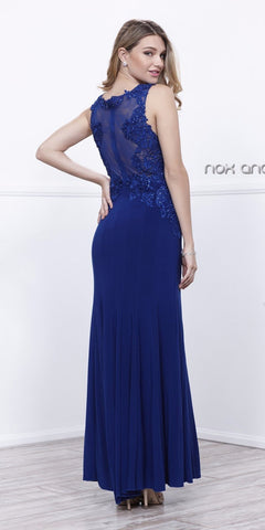 Navy Blue Jersey V-Neck Fit and Flare Formal Gown with Lace Accent