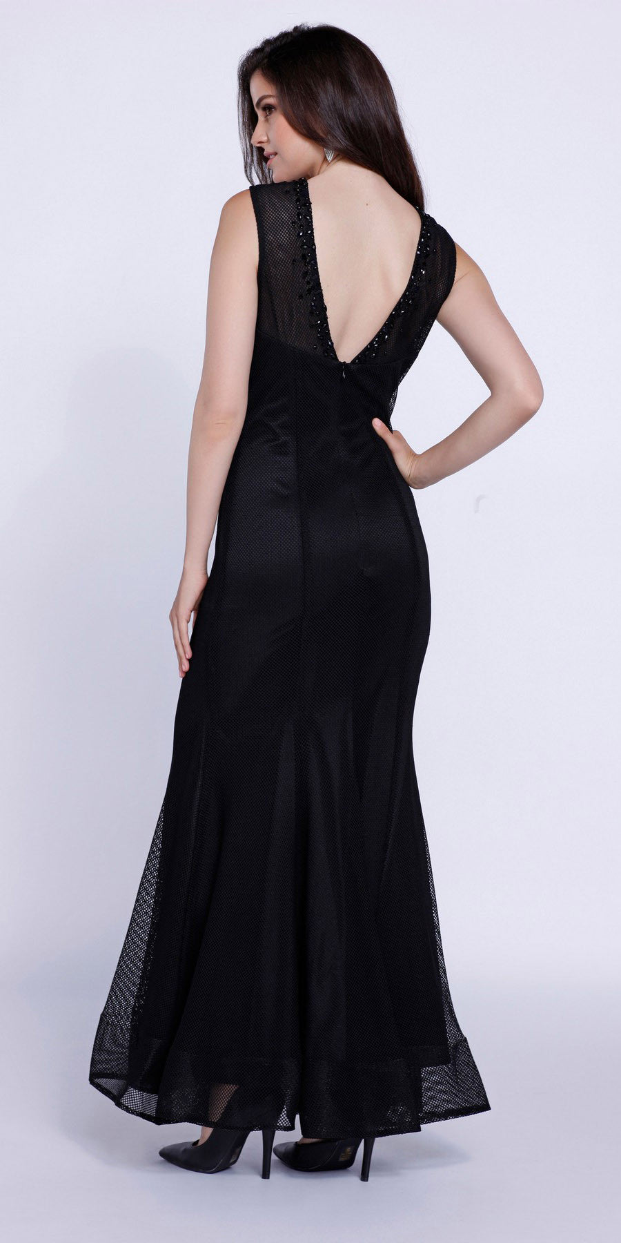 Jeweled Neckline Fit and Flare Sleeveless Gown Black