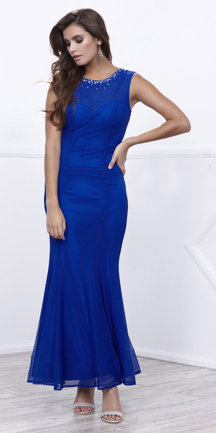 Jeweled Neckline Fit and Flare Sleeveless Gown Royal Blue