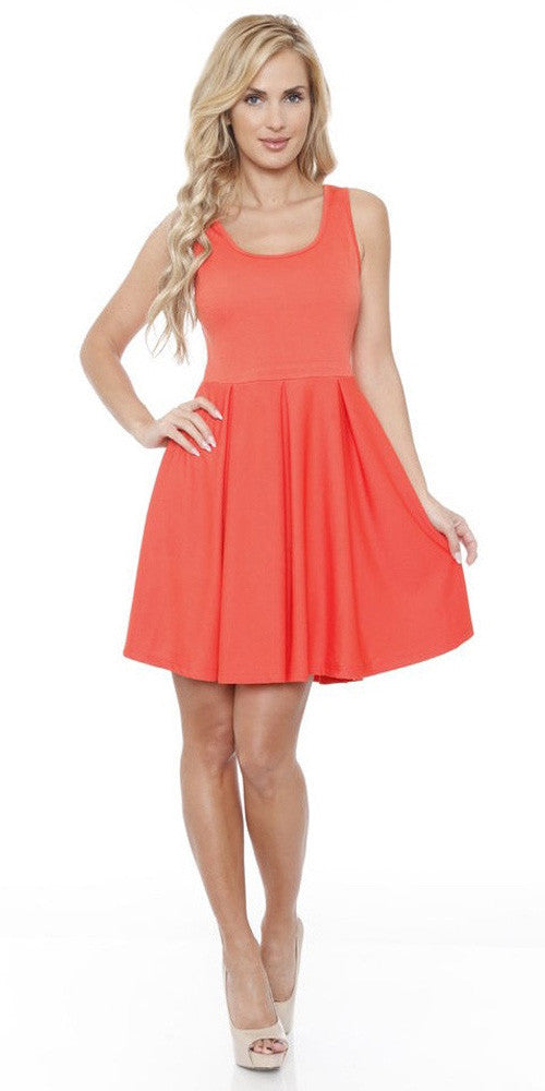 Crystal Fit/Flair Skater Dress Orange Short Scoop Neck