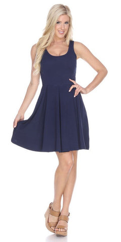 Crystal Fit/Flair Skater Dress Navy Short Scoop Neck
