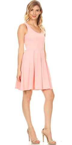 Crystal Fit/Flair Skater Dress Light Pink Short Scoop Neck