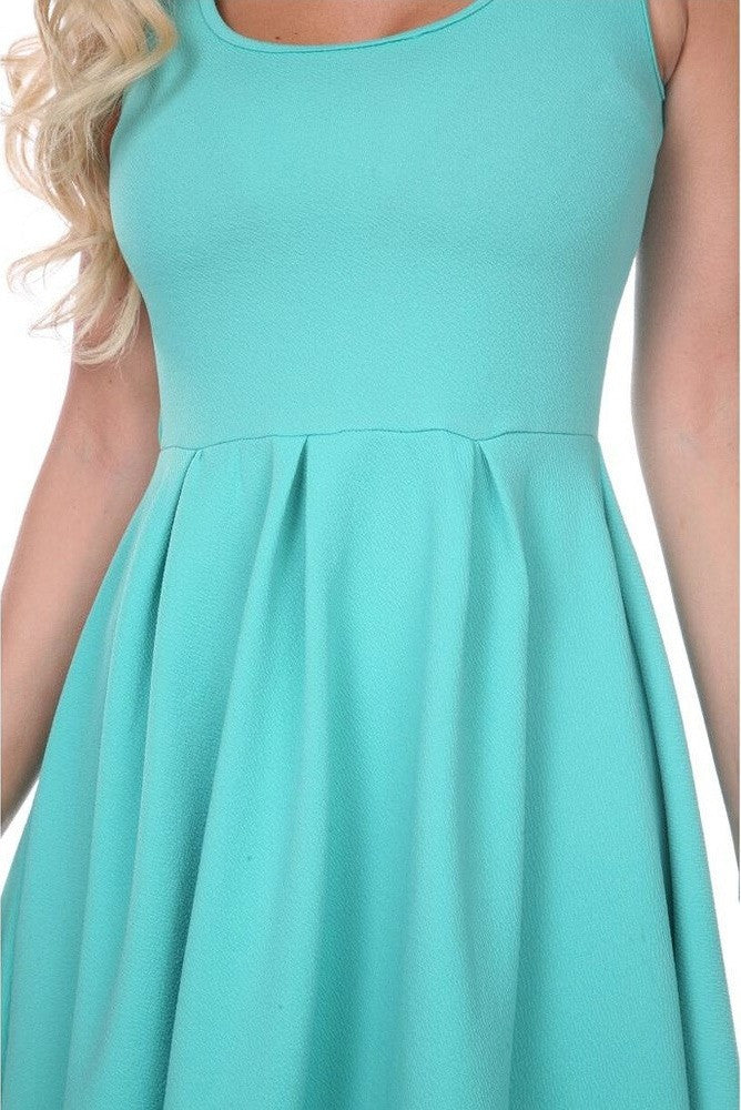 Zoom Crystal Fit/Flair Skater Dress Mint Short Scoop Neck