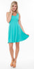 Crystal Fit/Flair Skater Dress Mint Short Scoop Neck