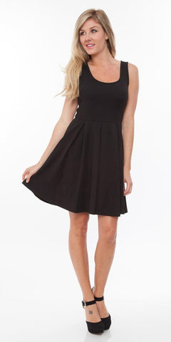 Crystal Fit/Flair Skater Dress Black Short Scoop Neck