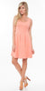 Crystal Fit/Flair Skater Dress Coral Short Scoop Neck