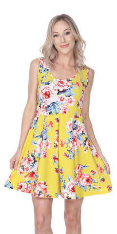 Floral Crystal Dress Yellow Print Scoop Neck Sleeveless