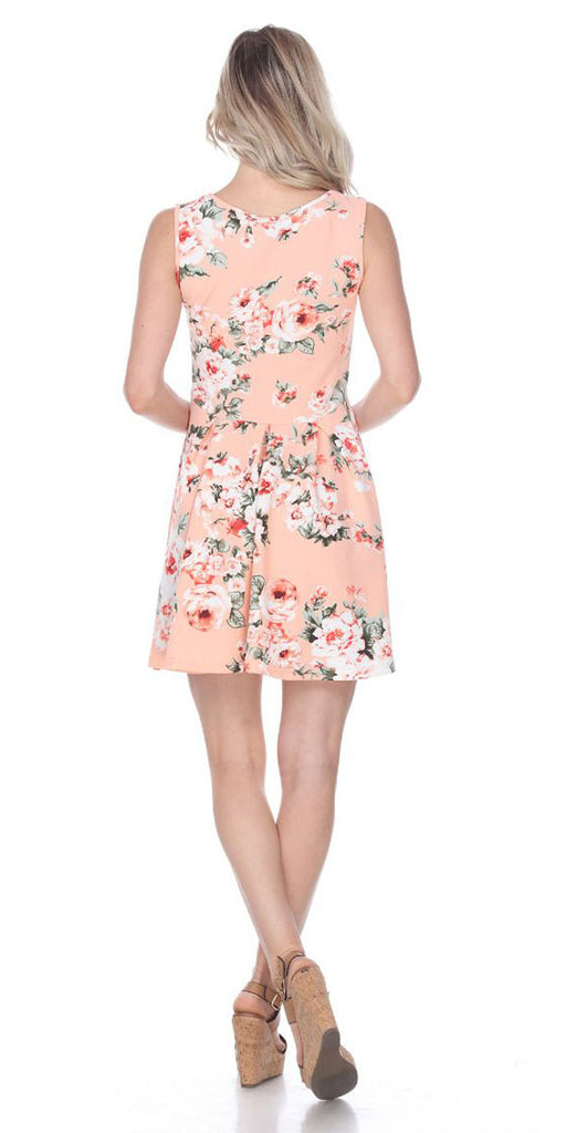 Floral Crystal Dress Peach Print Scoop Neck Sleeveless