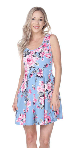 Floral Crystal Dress Light Blue Print Scoop Neck Sleeveless