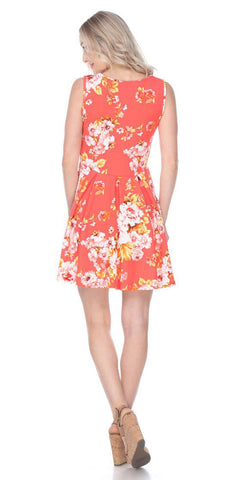 Floral Crystal Dress Orange Print Scoop Neck Sleeveless