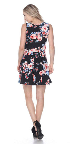 Floral Crystal Dress Black Print Scoop Neck Sleeveless