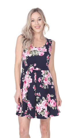 Floral Crystal Dress Navy Blue Print Scoop Neck Sleeveless
