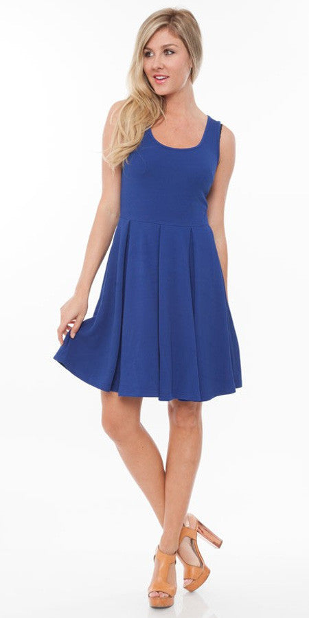 Crystal Fit/Flair Skater Dress Royal Short Scoop Neck