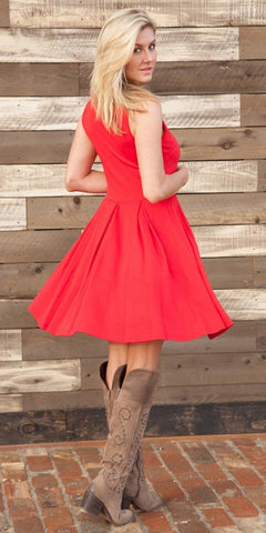 Crystal Fit/Flair Skater Dress Red Short Scoop Neck Back View