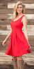 Crystal Fit/Flair Skater Dress Red Short Scoop Neck Cowboy View