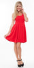 Crystal Fit/Flair Skater Dress Red Short Scoop Neck