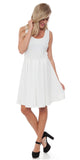 Crystal Fit/Flair Skater Dress White Short Scoop Neck
