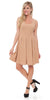Crystal Fit/Flair Skater Dress Beige Short Scoop Neck