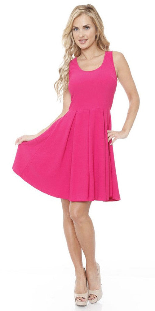 Crystal Fit/Flair Skater Dress Fuchsia Short Scoop Neck