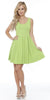 Crystal Fit/Flair Skater Dress Lime Short Scoop Neck