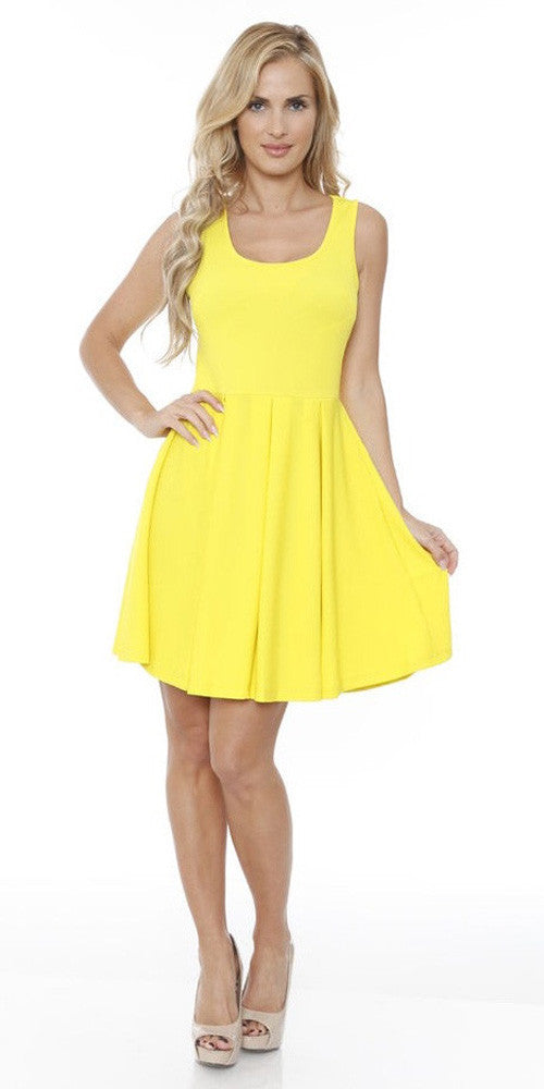 Crystal Fit/Flair Skater Dress Yellow Short Scoop Neck