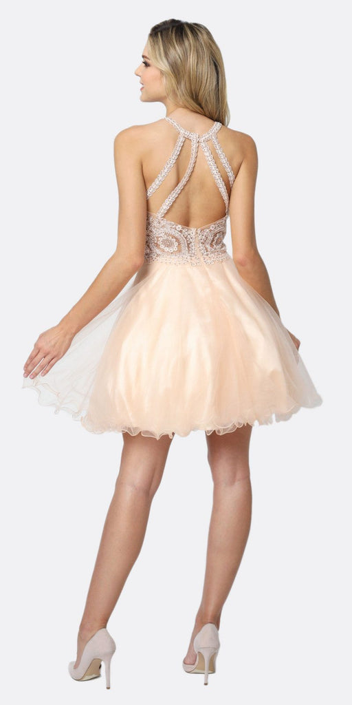 Juliet 826 Fit-and-Flare Halter Neck Short Dress Champagne Homecoming Party