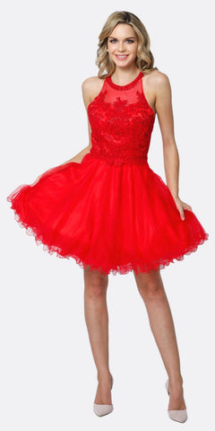 Juliet 826 Fit-and-Flare Halter Neck Short Dress Red Homecoming Party