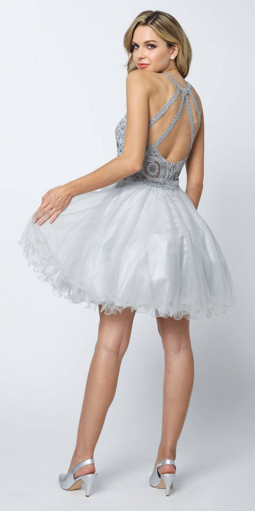 Juliet 826 Fit-and-Flare Halter Neck Short Dress Silver Homecoming Party