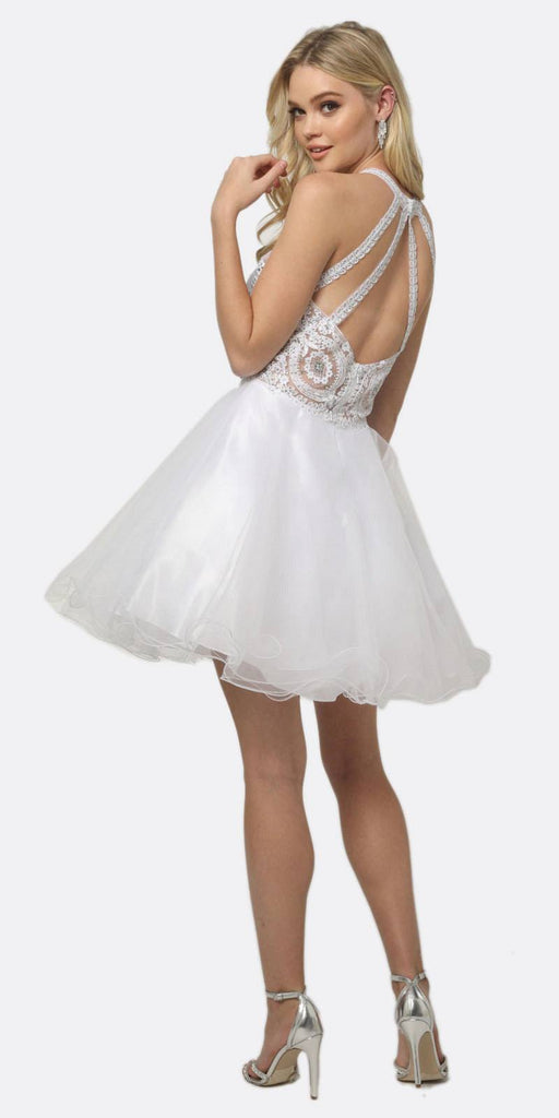 Juliet 826 Fit-and-Flare Halter Neck Short Dress White Homecoming Party